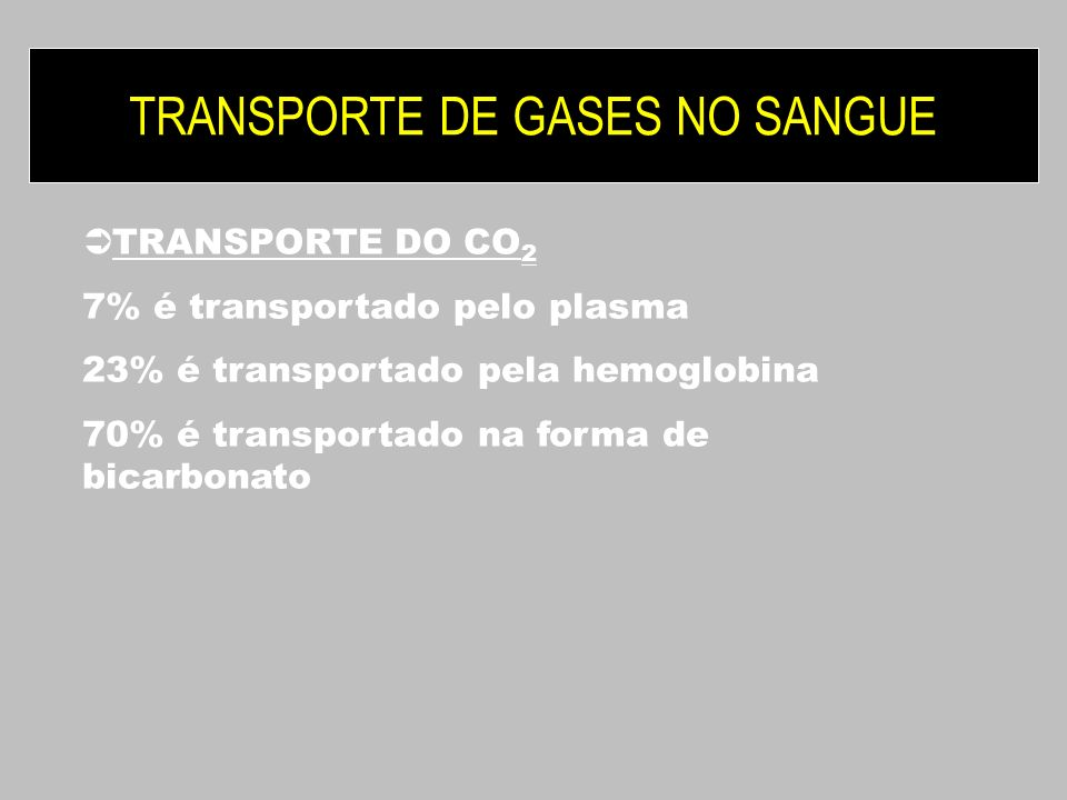 TRANSPORTE DE GASES NO SANGUE