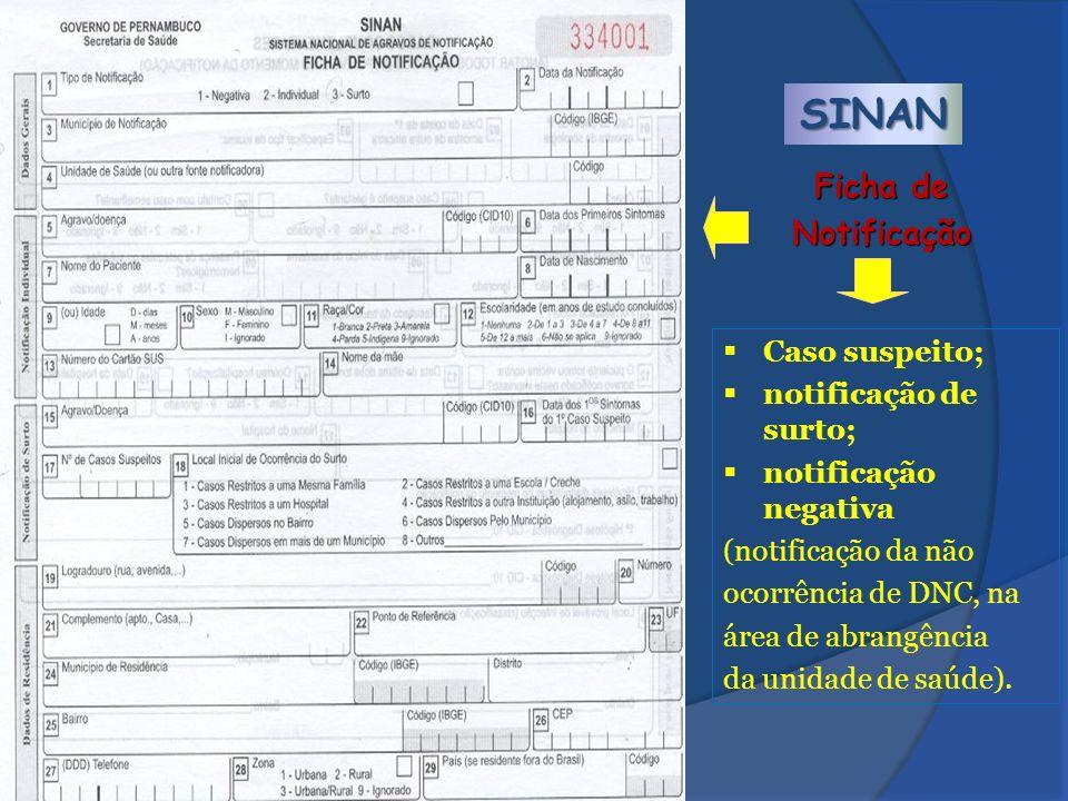 SINAN Ficha de Notificação Caso suspeito; notificação de surto;