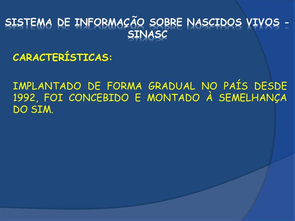SISTEMA DE INFORMAÇÃO SOBRE NASCIDOS VIVOS - SINASC