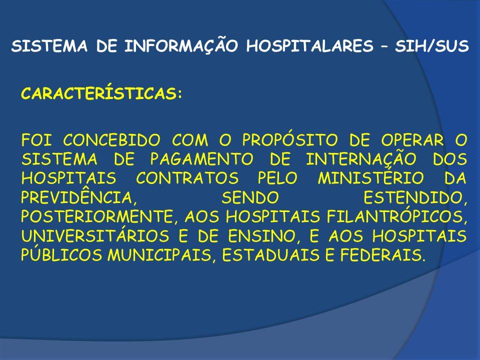 SISTEMA DE INFORMAÇÃO HOSPITALARES – SIH/SUS