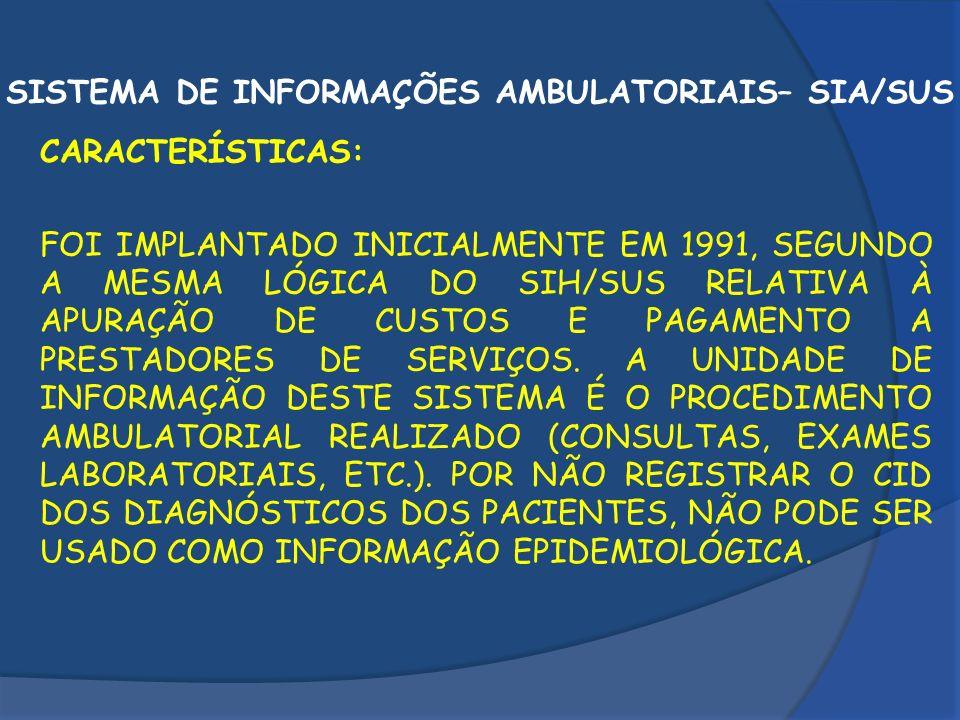 SISTEMA DE INFORMAÇÕES AMBULATORIAIS– SIA/SUS
