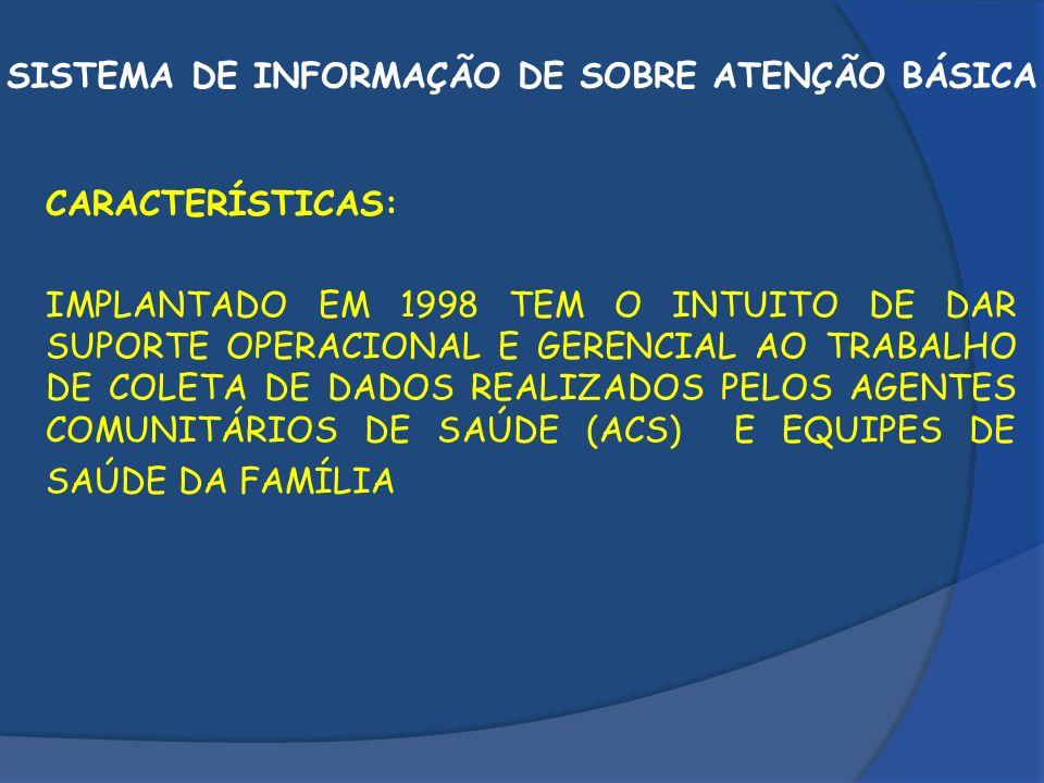 SISTEMA DE INFORMAÇÃO DE SOBRE ATENÇÃO BÁSICA SIAB