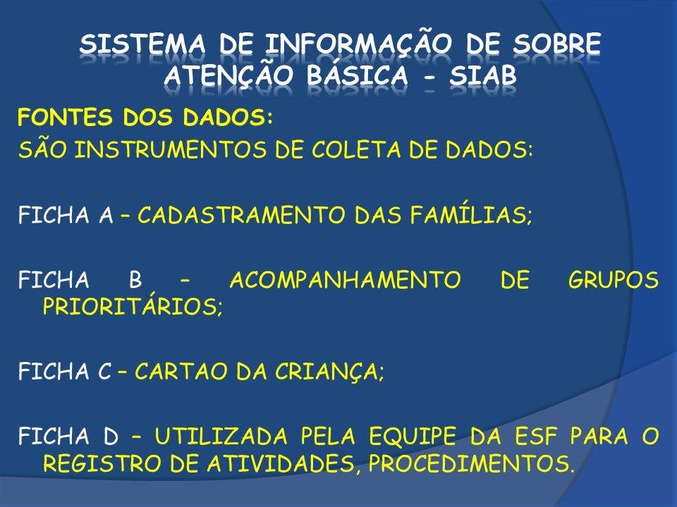 SISTEMA DE INFORMAÇÃO DE SOBRE ATENÇÃO BÁSICA - SIAB