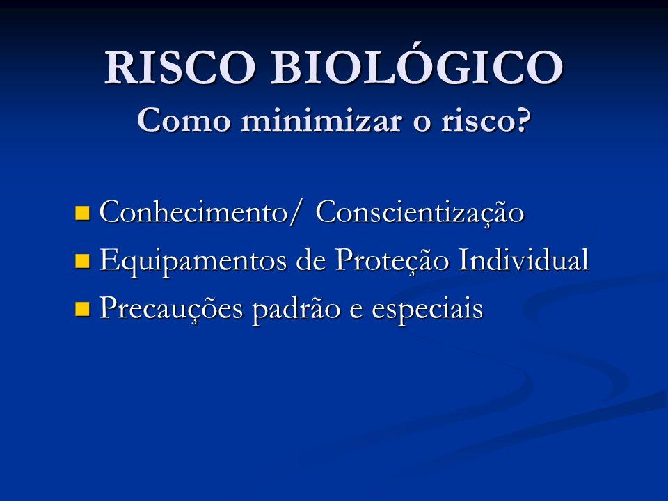 RISCO BIOLÓGICO Como minimizar o risco