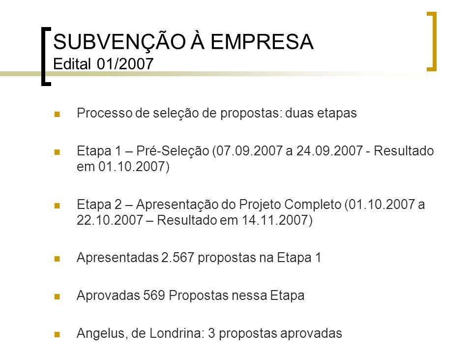 SUBVENÇÃO À EMPRESA Edital 01/2007