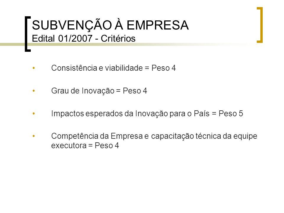SUBVENÇÃO À EMPRESA Edital 01/2007 - Critérios