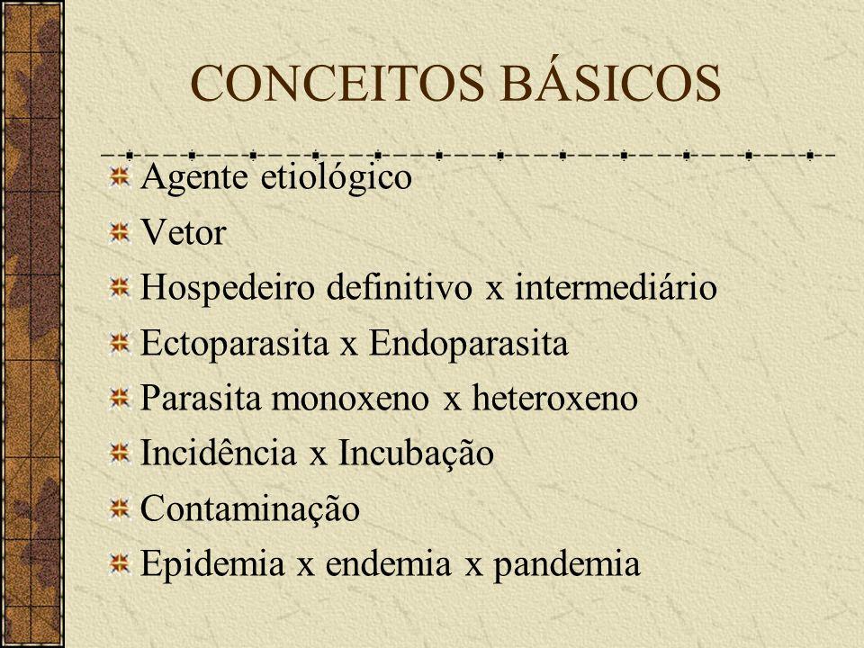 CONCEITOS BÁSICOS Agente etiológico Vetor