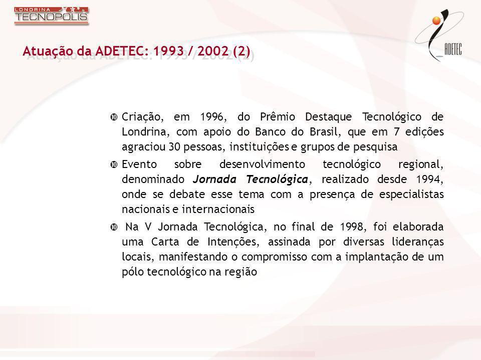 Atuação da ADETEC: 1993 / 2002 (2)