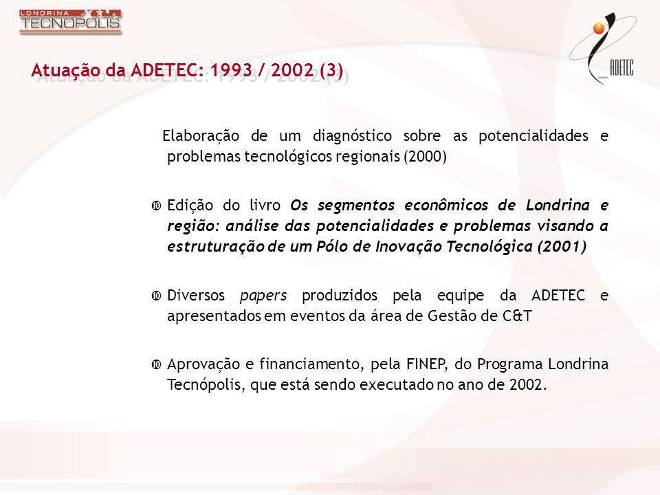 Atuação da ADETEC: 1993 / 2002 (3) Elaboração de um diagnóstico sobre as potencialidades e problemas tecnológicos regionais (2000)