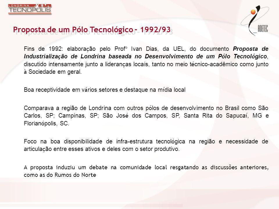 Proposta de um Pólo Tecnológico – 1992/93