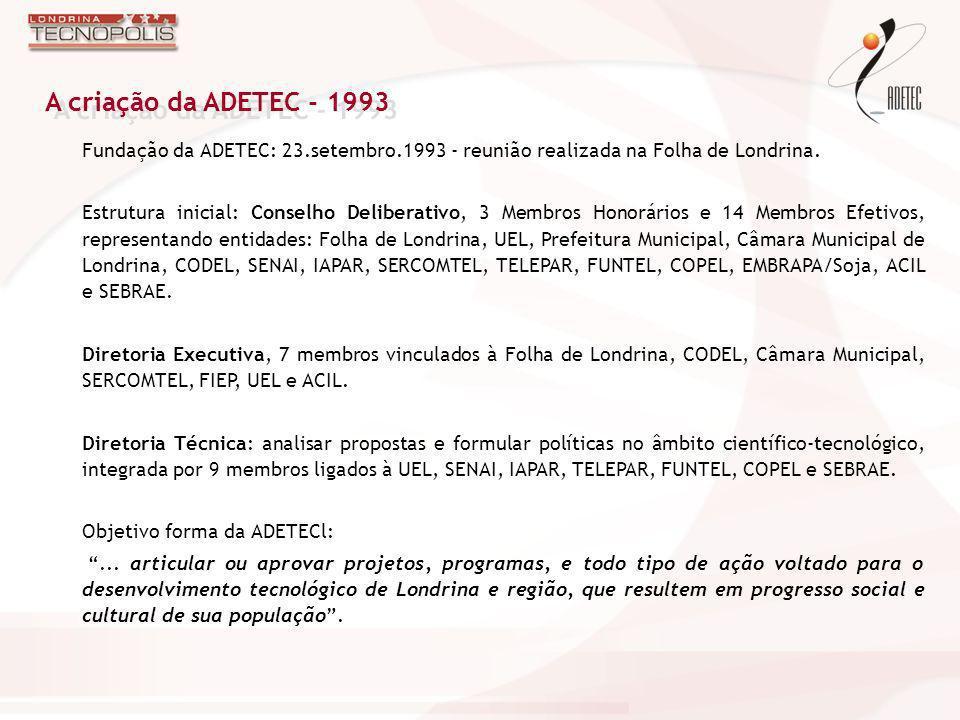 A criação da ADETEC - 1993 Fundação da ADETEC: 23.setembro.1993 - reunião realizada na Folha de Londrina.