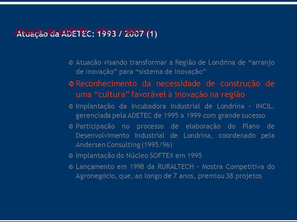 Atuação da ADETEC: 1993 / 2007 (1) Atuação visando transformar a Região de Londrina de arranjo de inovação para sistema de inovação