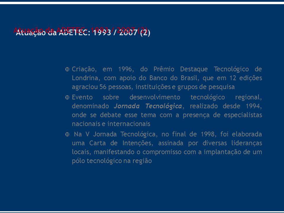 Atuação da ADETEC: 1993 / 2007 (2)