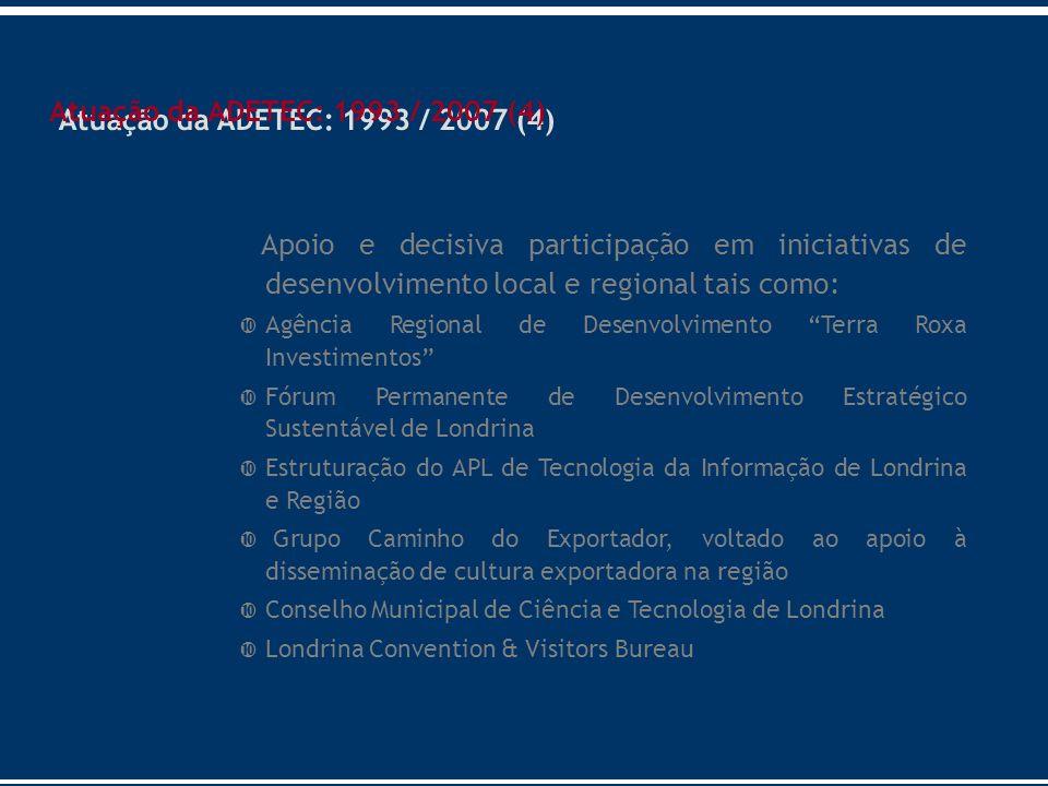 Atuação da ADETEC: 1993 / 2007 (4) Apoio e decisiva participação em iniciativas de desenvolvimento local e regional tais como: