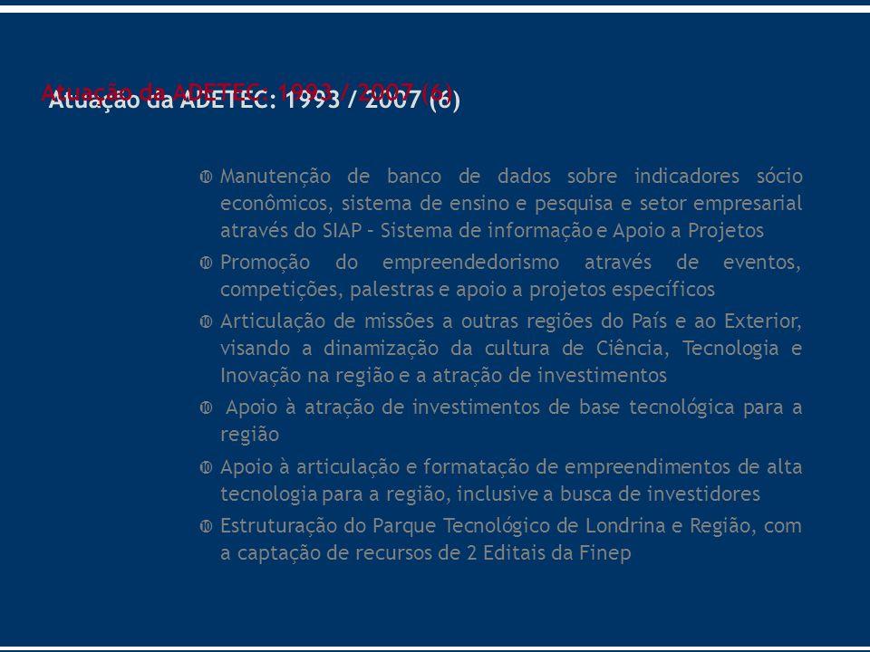 Atuação da ADETEC: 1993 / 2007 (6)