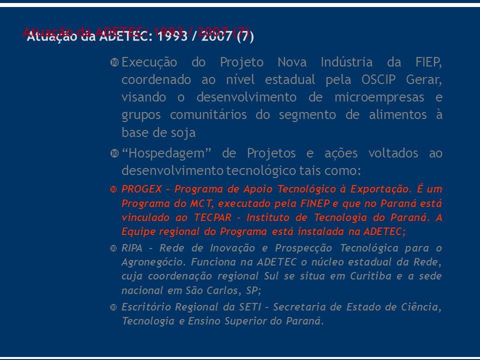 Atuação da ADETEC: 1993 / 2007 (7)