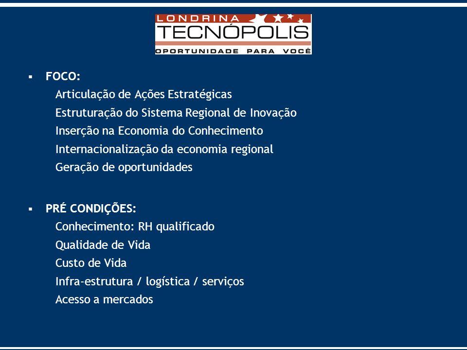 FOCO: Articulação de Ações Estratégicas. Estruturação do Sistema Regional de Inovação. Inserção na Economia do Conhecimento.