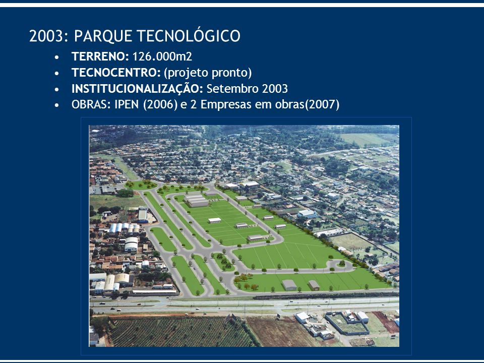 2003: PARQUE TECNOLÓGICO TERRENO: 126.000m2