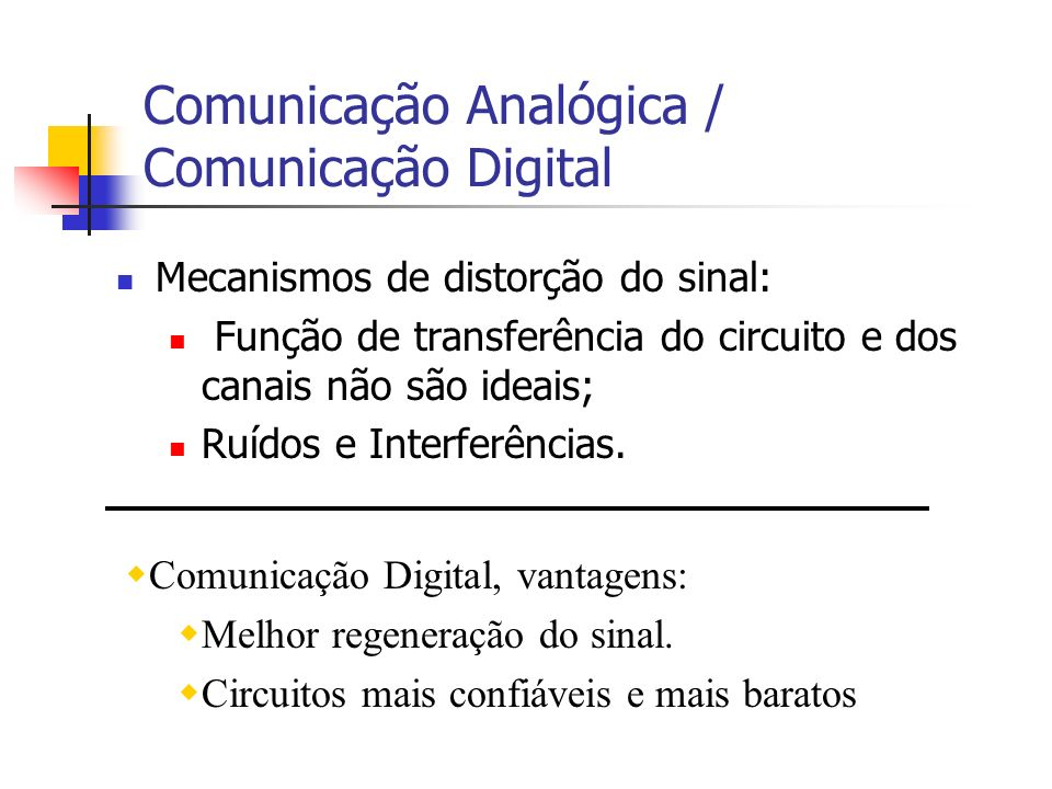 Comunicação Analógica / Comunicação Digital