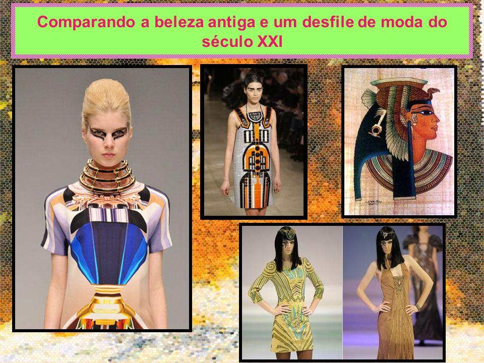Comparando a beleza antiga e um desfile de moda do século XXI
