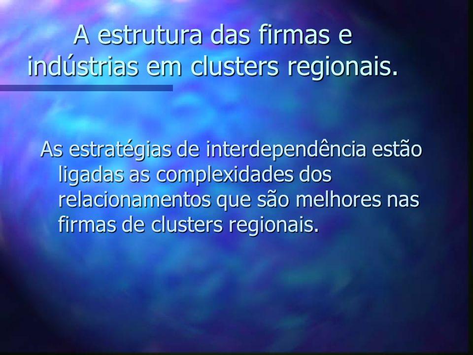 A estrutura das firmas e indústrias em clusters regionais.