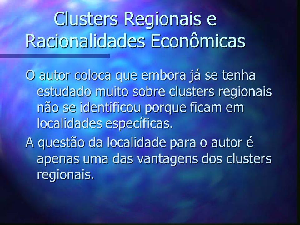Clusters Regionais e Racionalidades Econômicas