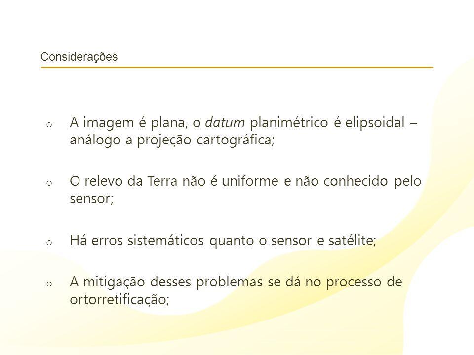 O relevo da Terra não é uniforme e não conhecido pelo sensor;
