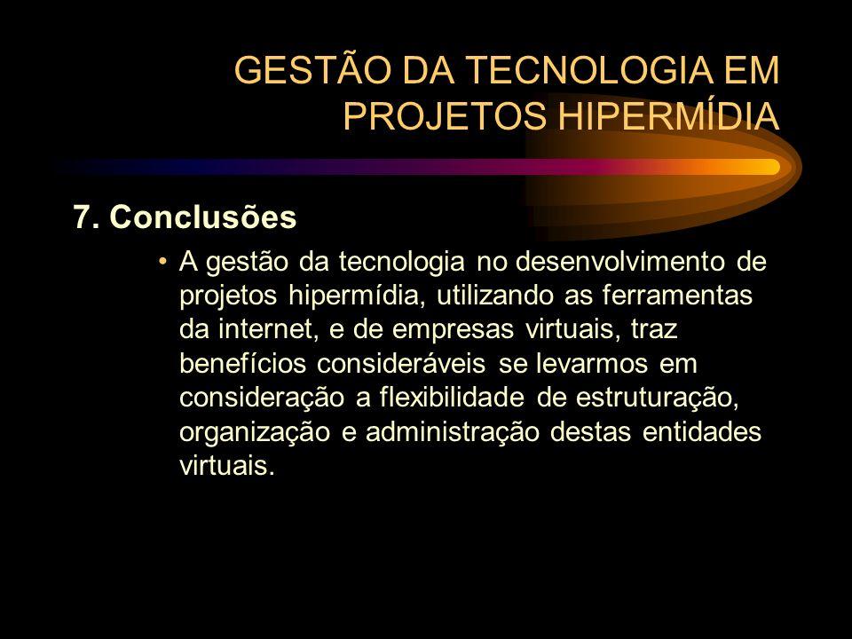 GESTÃO DA TECNOLOGIA EM PROJETOS HIPERMÍDIA