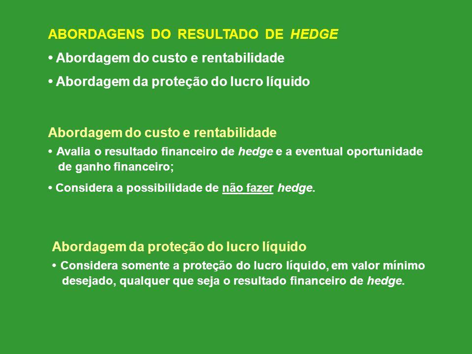 ABORDAGENS DO RESULTADO DE HEDGE • Abordagem do custo e rentabilidade