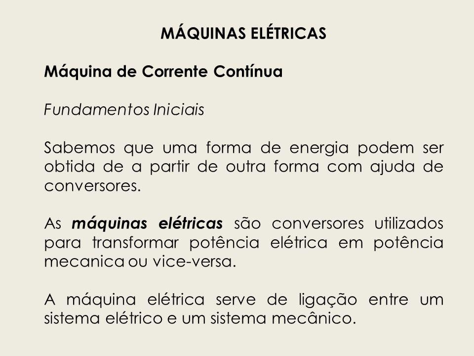 MÁQUINAS ELÉTRICAS Máquina de Corrente Contínua. Fundamentos Iniciais.