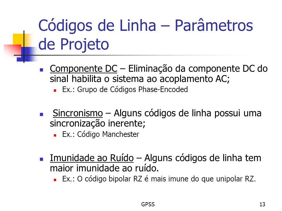 Códigos de Linha – Parâmetros de Projeto