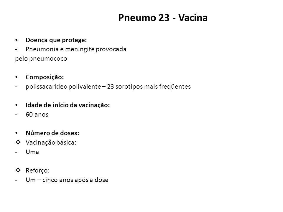 Pneumo 23 - Vacina Doença que protege: Pneumonia e meningite provocada