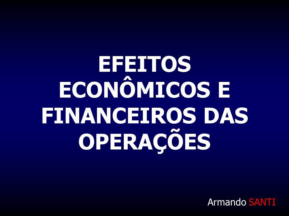 EFEITOS ECONÔMICOS E FINANCEIROS DAS OPERAÇÕES