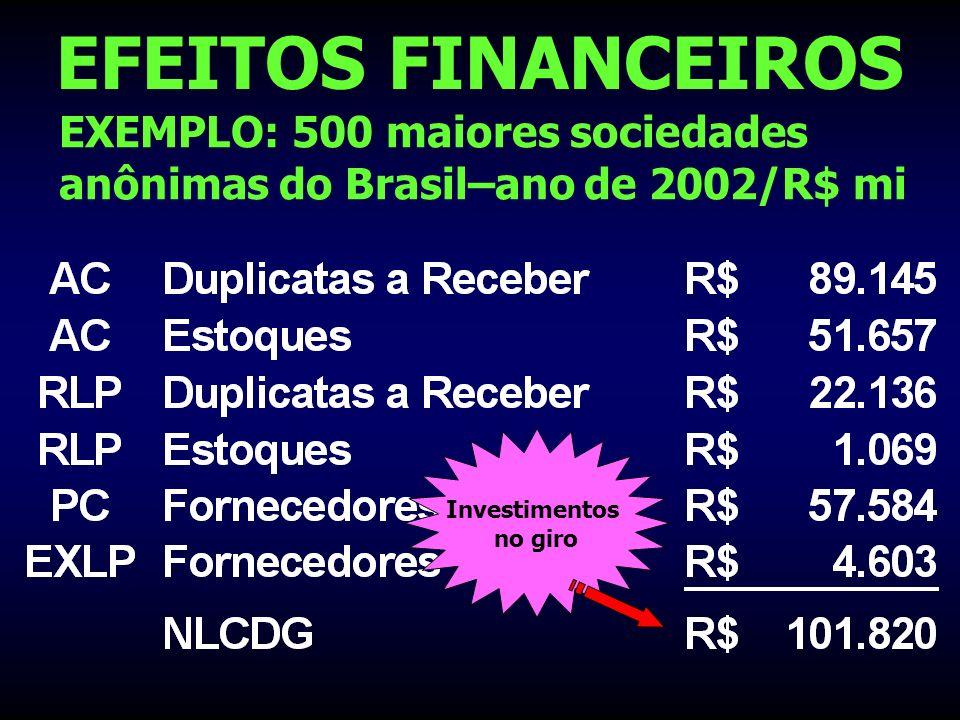 EFEITOS FINANCEIROS EXEMPLO: 500 maiores sociedades anônimas do Brasil–ano de 2002/R$ mi. Investimentos.