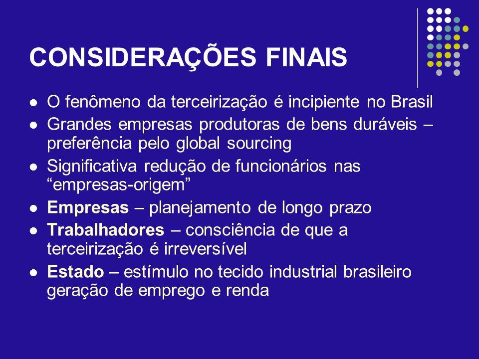 CONSIDERAÇÕES FINAIS O fenômeno da terceirização é incipiente no Brasil.