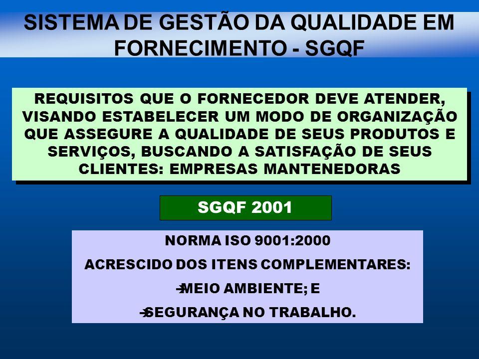 SISTEMA DE GESTÃO DA QUALIDADE EM FORNECIMENTO - SGQF