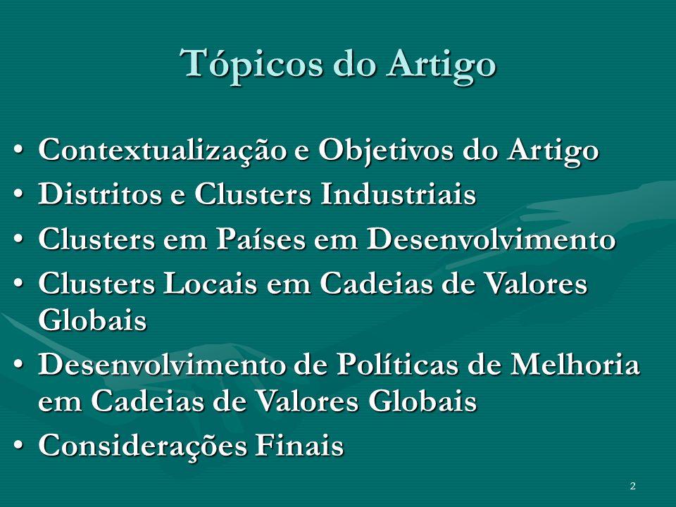 Tópicos do Artigo Contextualização e Objetivos do Artigo
