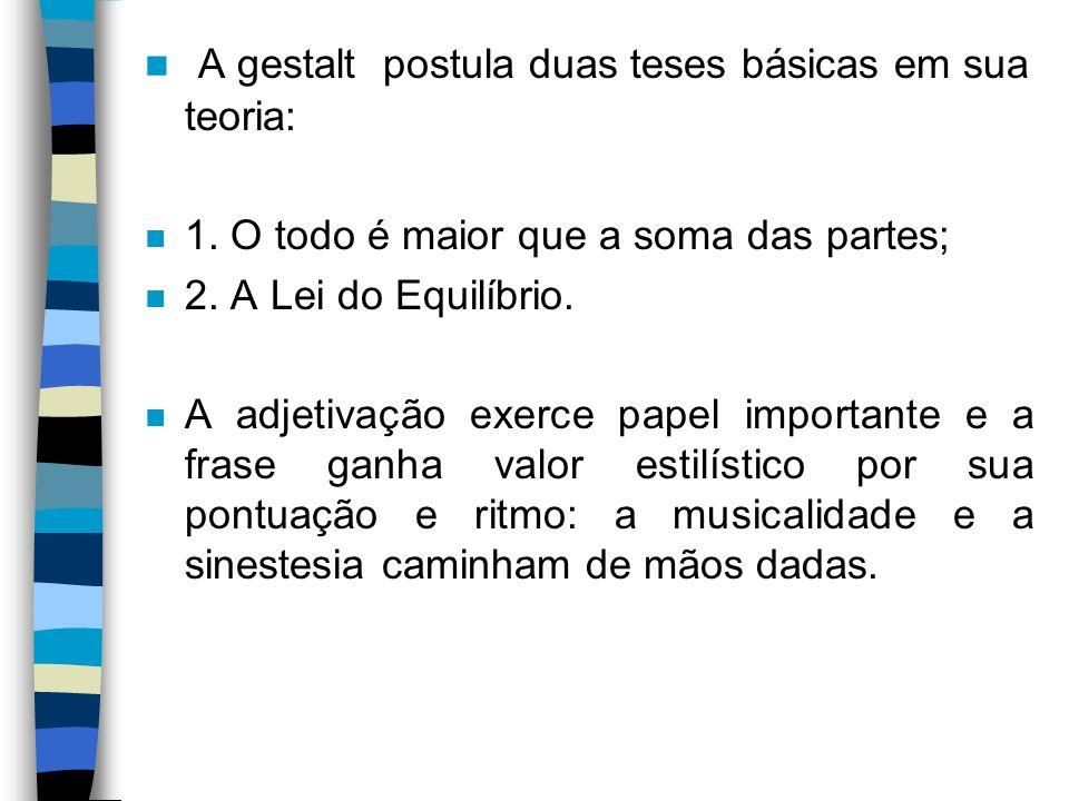 A gestalt postula duas teses básicas em sua teoria: