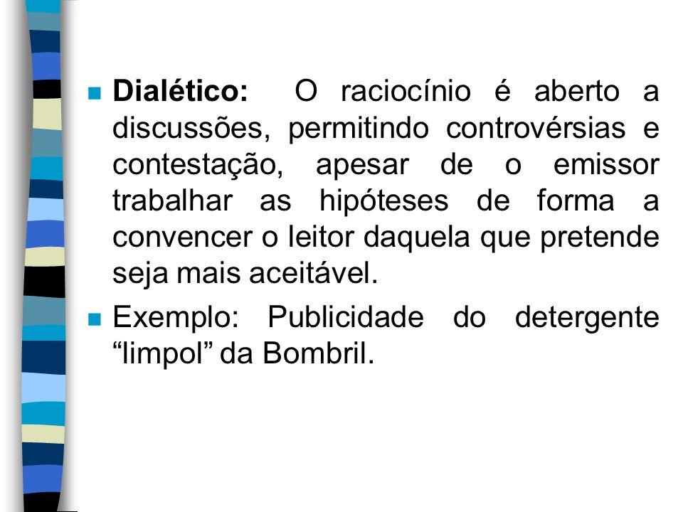 Dialético: O raciocínio é aberto a discussões, permitindo controvérsias e contestação, apesar de o emissor trabalhar as hipóteses de forma a convencer o leitor daquela que pretende seja mais aceitável.