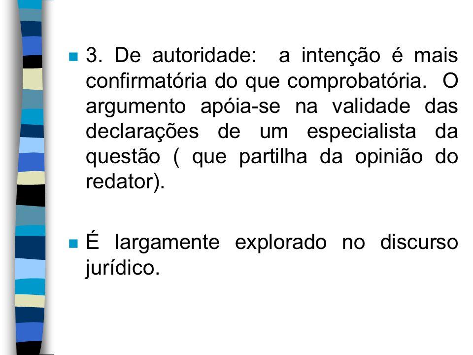 3. De autoridade: a intenção é mais confirmatória do que comprobatória