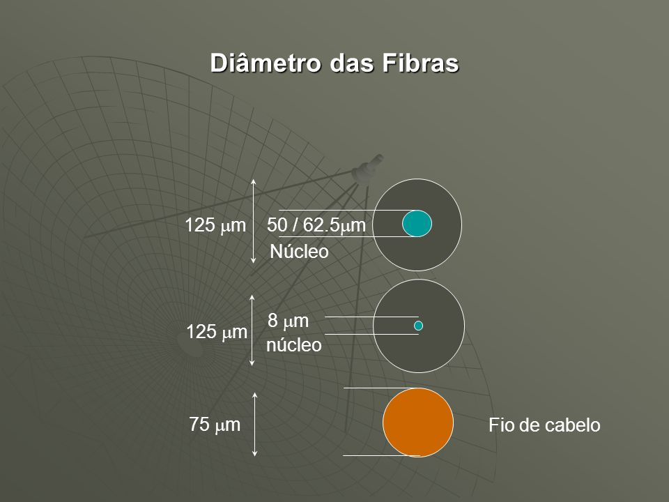Diâmetro das Fibras 125 mm Núcleo 50 / 62.5mm 125 mm núcleo 8 mm