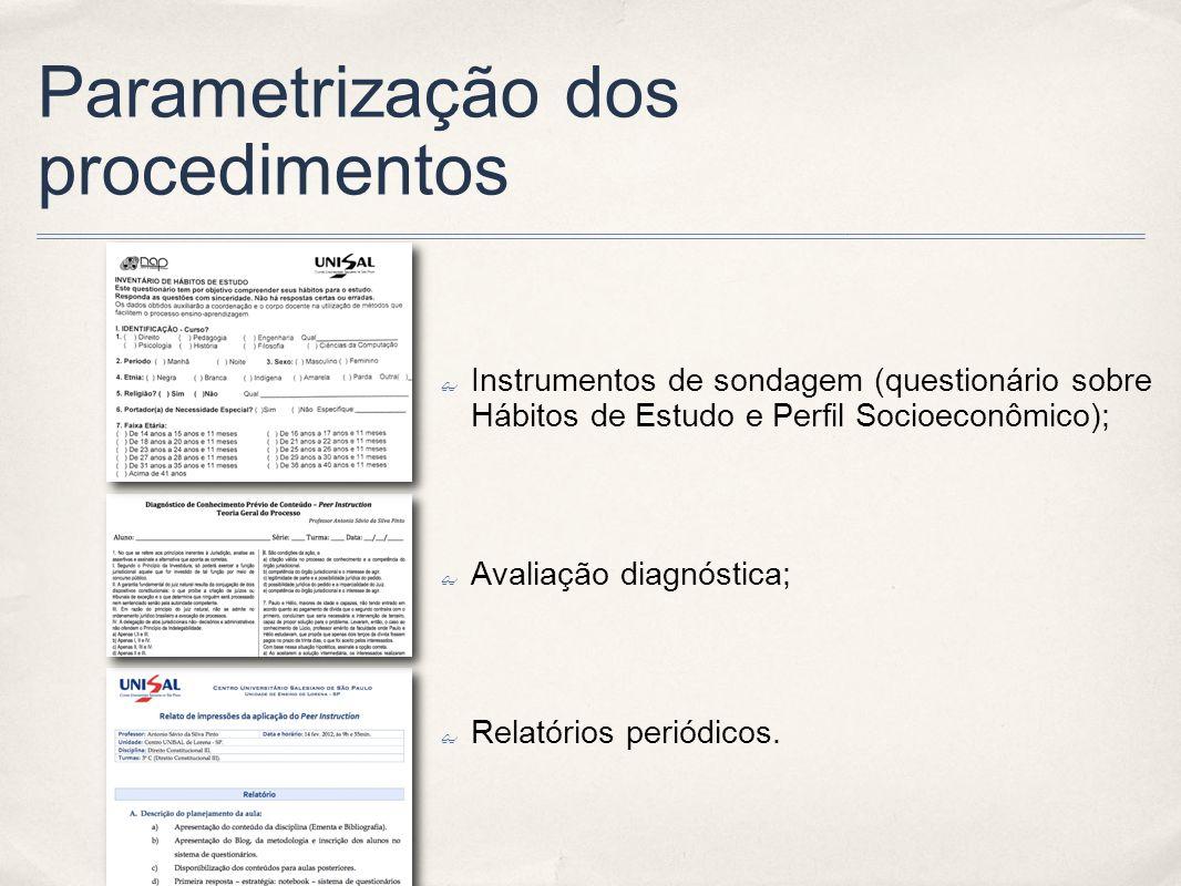 Parametrização dos procedimentos