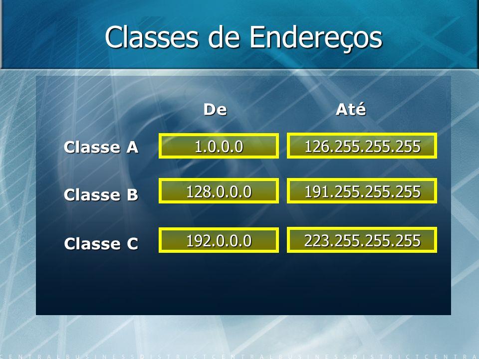 Classes de Endereços De Até Classe A 1.0.0.0 126.255.255.255 Classe B