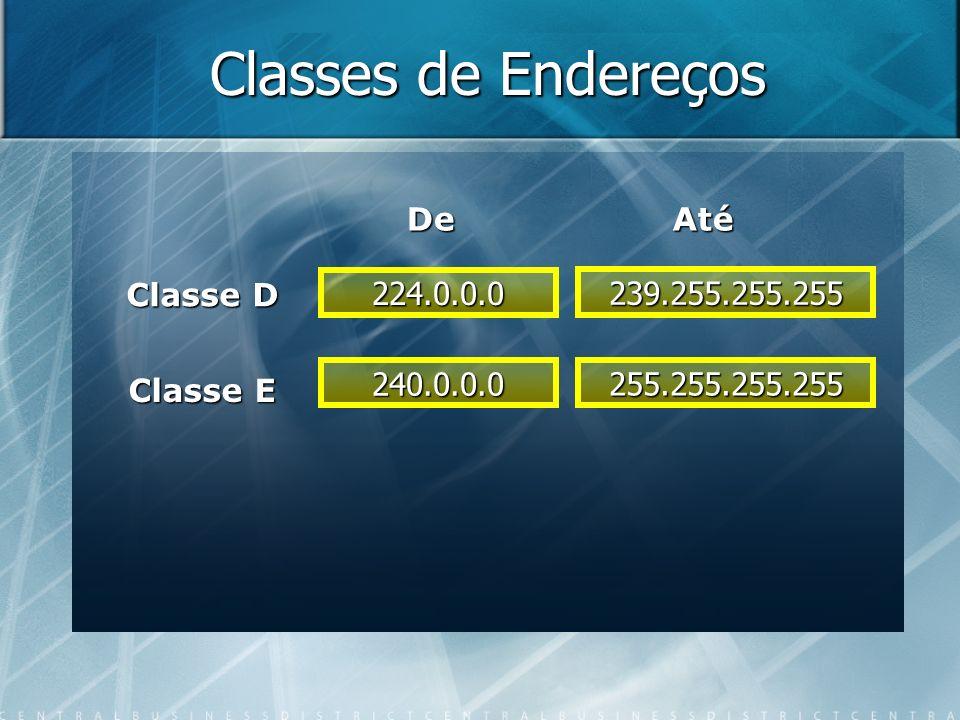 Classes de Endereços De Até Classe D 224.0.0.0 239.255.255.255