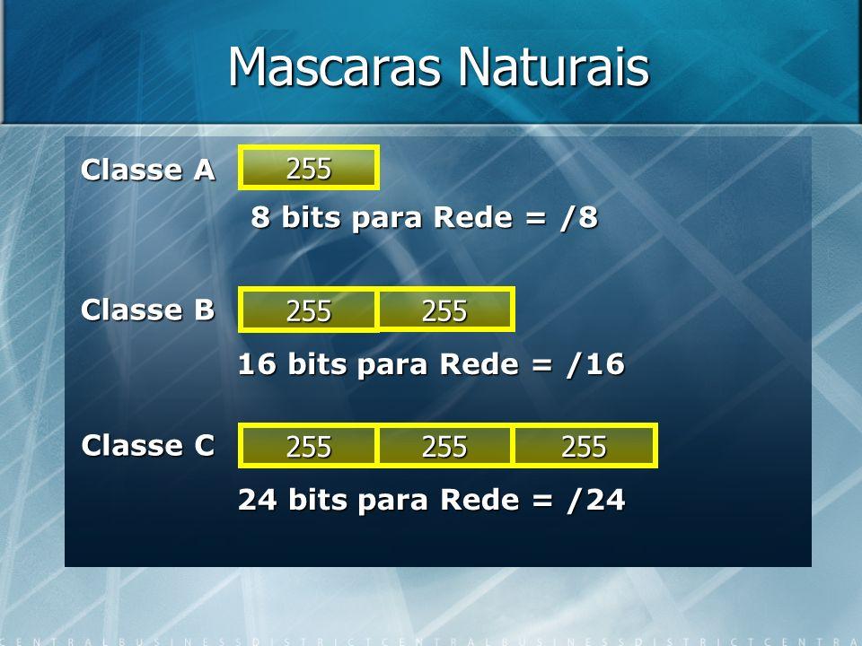 Mascaras Naturais Classe A 255 8 bits para Rede = /8 Classe B 255 255
