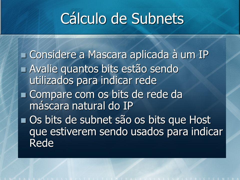 Cálculo de Subnets Considere a Mascara aplicada à um IP
