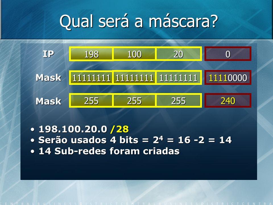 Qual será a máscara IP 198 100 20 Mask 11111111 11111111 11111111