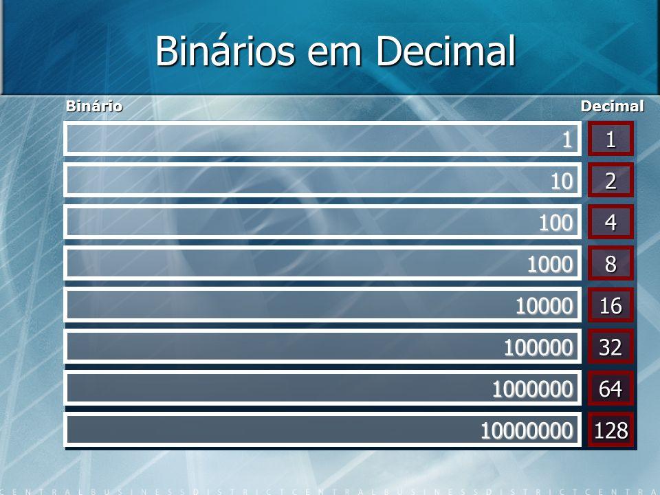 Binários em Decimal Binário. Decimal. 1. 1. 10. 2. 100. 4. 1000. 8. 10000. 16. 100000. 32.