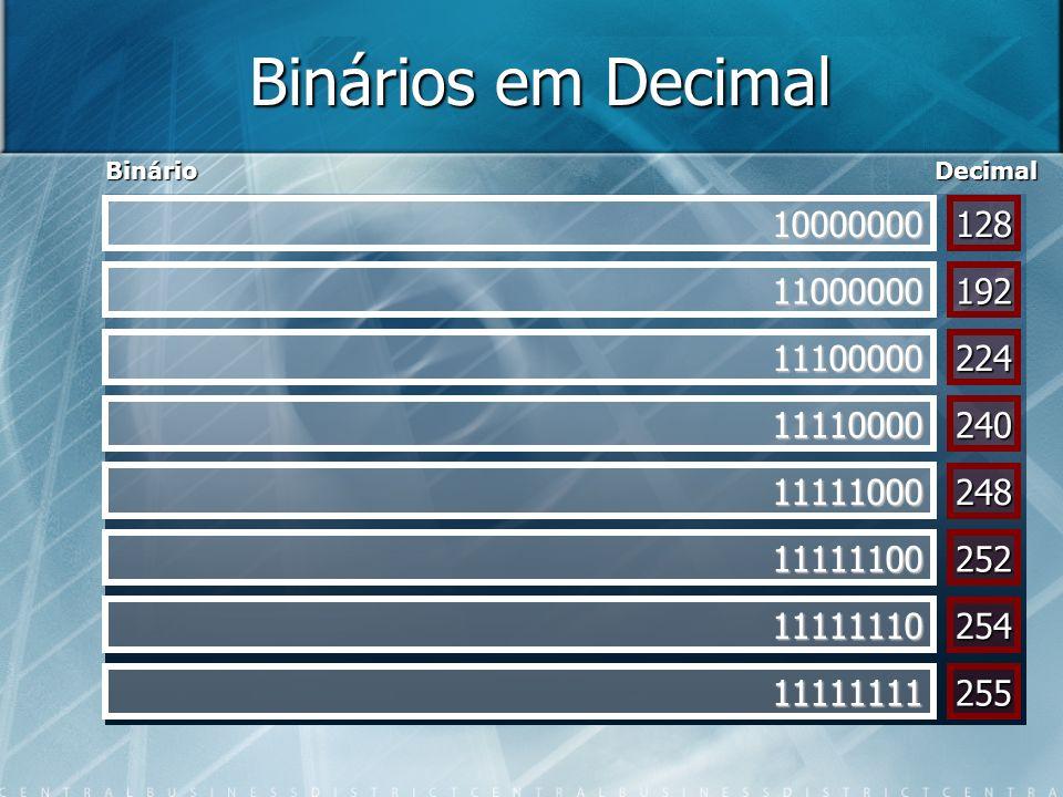Binários em Decimal Binário. Decimal. 10000000. 128. 11000000. 192. 11100000. 224. 11110000.