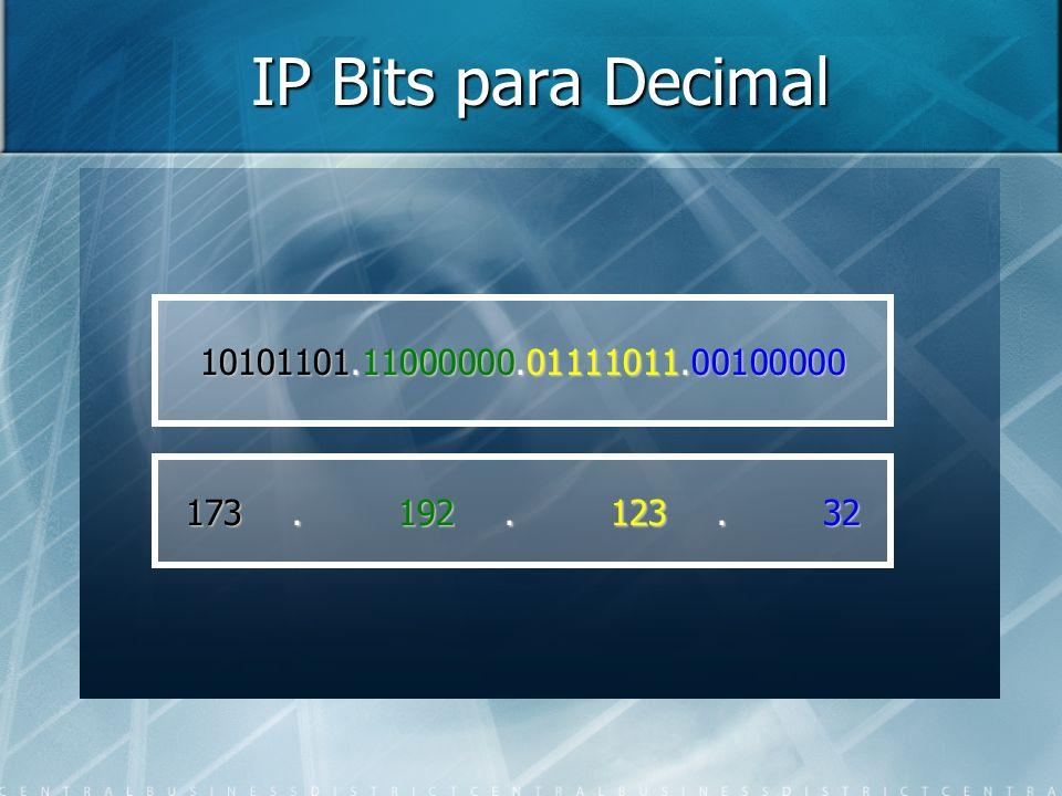 IP Bits para Decimal 10101101.11000000.01111011.00100000 173 . 192 . 123 . 32
